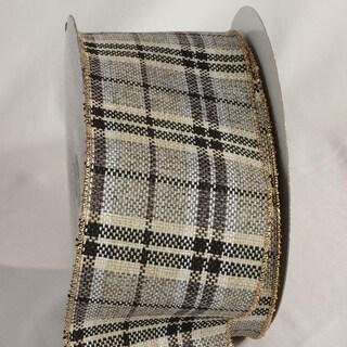 "Slate Gray and Beige Elegant Plaid Wired Craft Ribbon 4"" x 20 Yards"