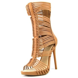 Vince Camuto Barbara Women Open-Toe Leather Tan Heels