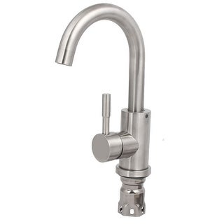 Kitchen Lavatory 304 Stainless Steel Single Handle Rotary Water Basin Faucet Set