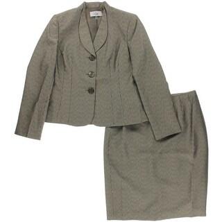 Le Suit Womens Monte Carlo Metallic Jacquard Skirt Suit