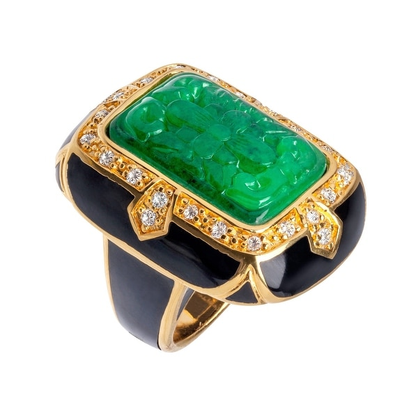 Cristina Sabatini Green Quartz King's Garden Ring in 14K Gold-Plated Sterling Silver