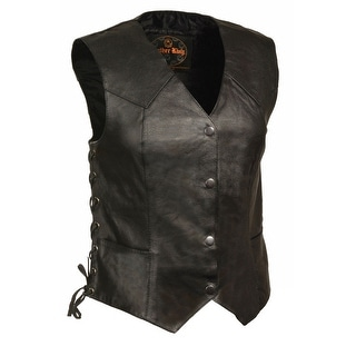 Womens Classic Leather Side Lace Four Snap Vest