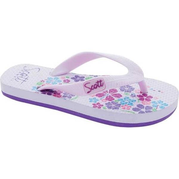 Flower Design Slippers Pink Rubber Flip-Flops Scott Hawaii Girls Pua Sandal