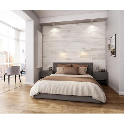 NaturaPlank Peel and Stick Real Wood Wall Panels with 3M Adheisive Tape, Antique White