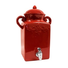 American Atelier Square Tuscan Ceramic Beverage Dispenser Red