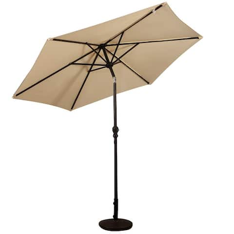 9' Outdoor Patio Umbrella Offset Shade Canopy with LED Light