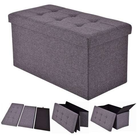Costway Folding Rect Ottoman Bench Storage Stool Box Footrest Furniture Decor Dark Gray
