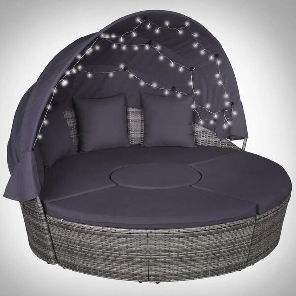 "vidaXL 4 Piece Outdoor Lounge Set with Cushions LEDs Poly Rattan Gray - 72.8"" x 36.4"" x 27.6"""