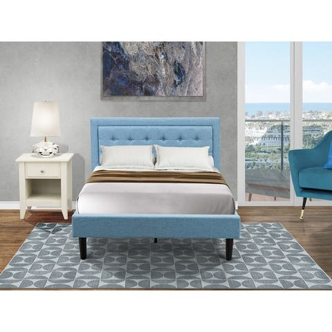 Platform Full Bedroom Set with Full Bed Frame and a Wooden Night Stand - Denim Blue Linen Fabric