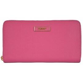 New DKNY Donna Karan Fuchsia Pink Saffiano Leather Zip Around Wallet Clutch