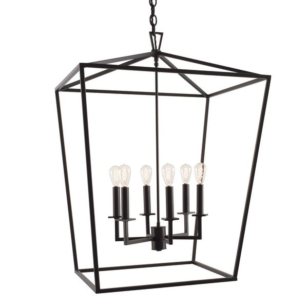 "Norwell Lighting 1082 Cage 6-Light 24"" Wide Candle Style Chandelier with Steel Cage"