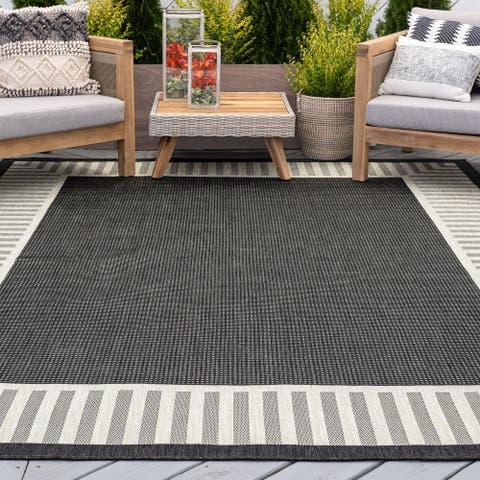 Alise Rugs Exo Transitional Striped Border Indoor/ Outdoor Area Rug