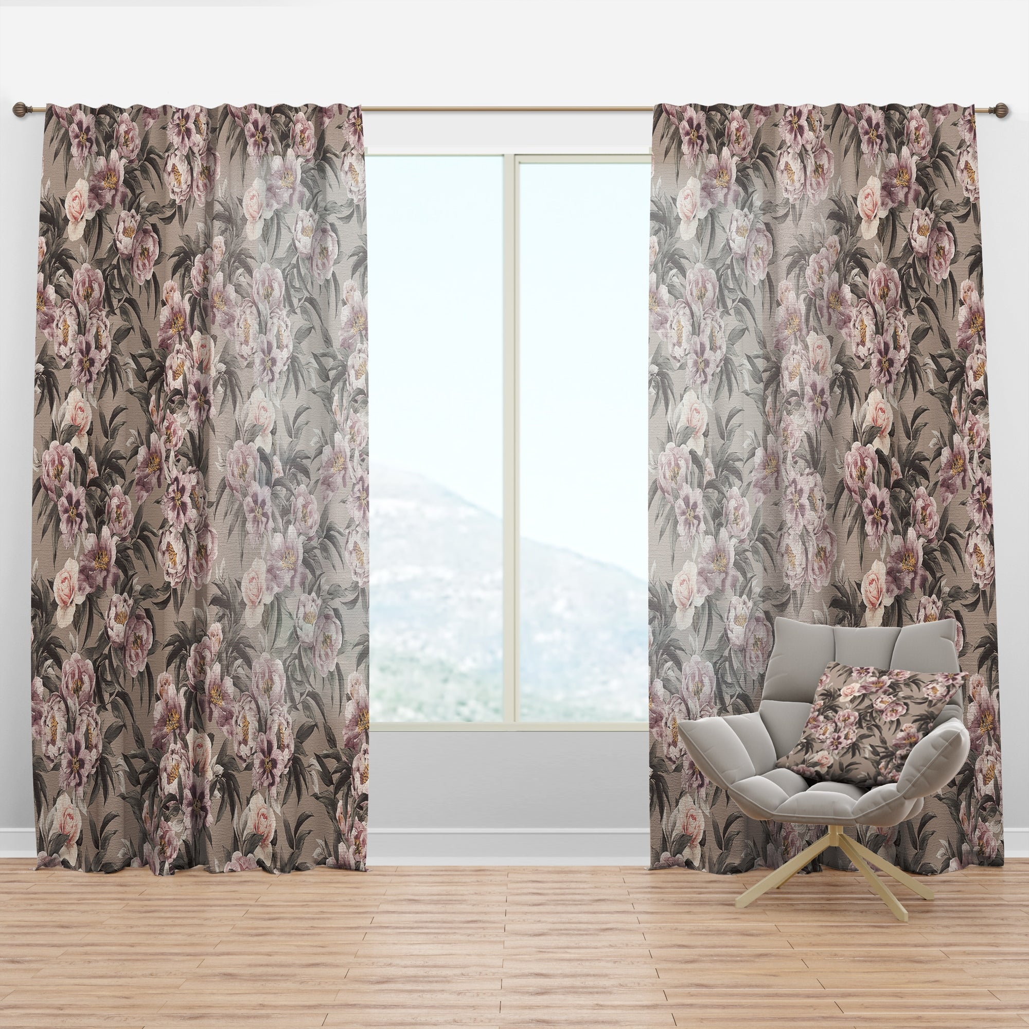 Designart Pink Pansies And Peonies Floral Curtain Panel On Sale Overstock 29625623