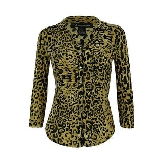 INC International Concepts Women's Ruched Animal Print Blouse - party animal - pxs