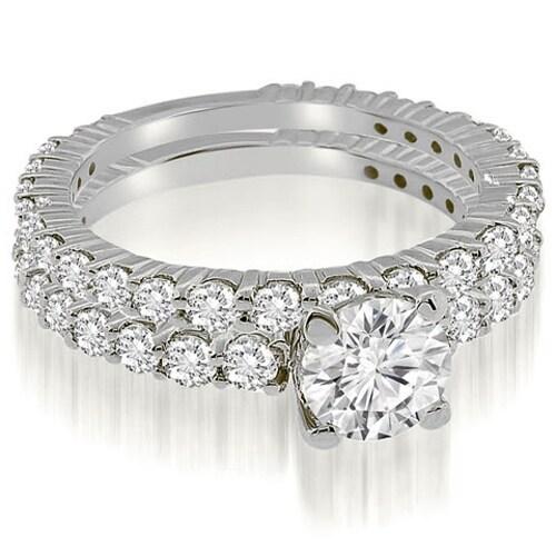 2.30 cttw. 14K White Gold Round Cut Diamond Bridal Set