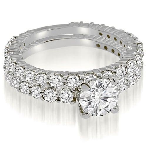 2.55 cttw. 14K White Gold Round Cut Diamond Bridal Set