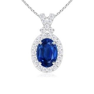 Angara Vintage Inspired Diamond Halo Oval Sapphire Pendant