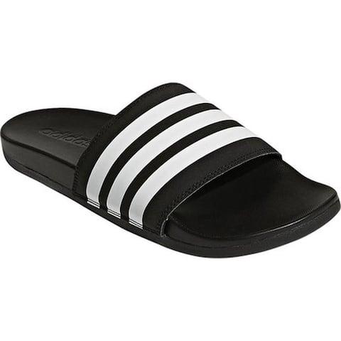 adidas Men's adilette Cloudfoam Plus Stripes C Sandal Black/White/Black