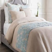 Alice Blue and Cloud Gray Elegant Blossom Dreams Linen Decorative Runner