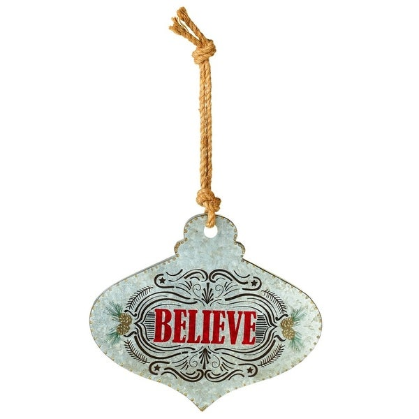 Believe Shaped Vintage Style Ornament Wall Plaque Metal 14 Inches