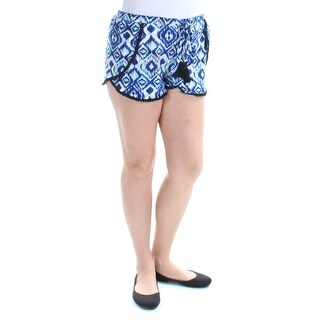 HOT KISS Womens New 1435 Blue Geometric Tie Casual Short L Juniors B+B