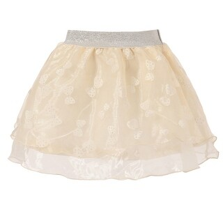 Richie House Girls' Pink Tulle Skirt with Bow Print and Silver Accent