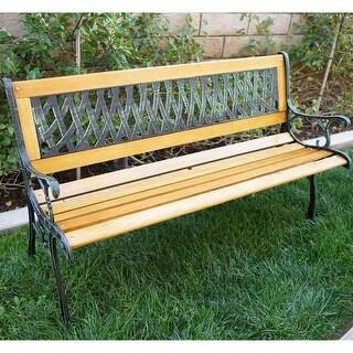 """Belleze Outdoor Patio Garden Park Bench Love Seat, 50""""-inch"""