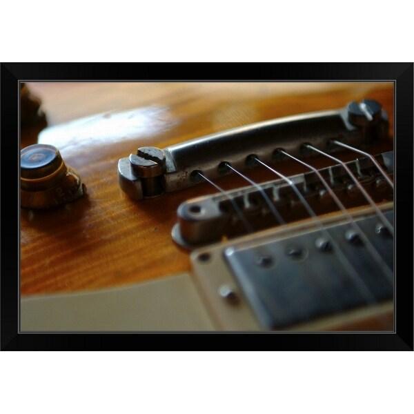 """Detail of electric guitar at Nantwich Jaz"" Black Framed Print"