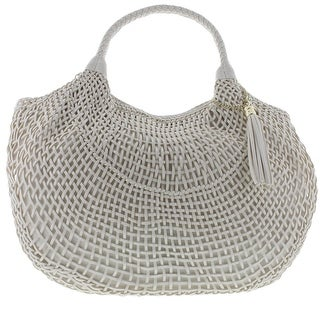 SR Squared by Sondra Roberts Womens Woven Faux Leather Hobo Handbag - Natural/Coral - Large