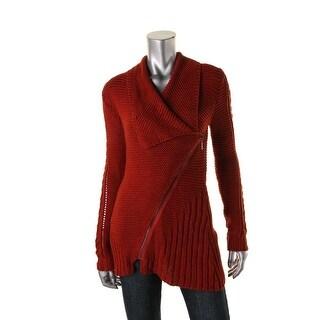 Rachel Rachel Roy Womens Waffle Knit Asymmetric Full Zip Sweater
