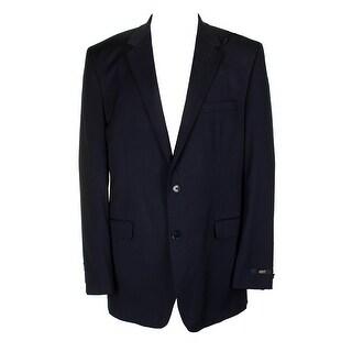 Alfani Mens Navy Blue Traveler Regular Fit Single Breasted Blazer 44S
