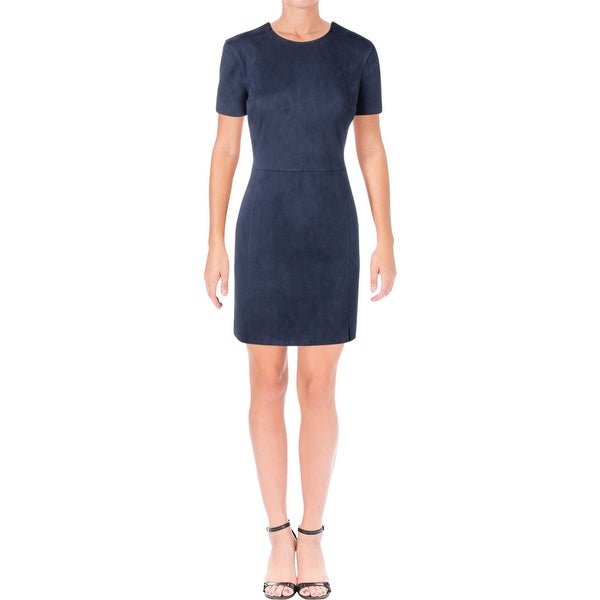 4f5243511f2 Shop French Connection Womens Patty Cocktail Dress Faux Suede Crew ...