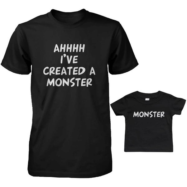Created a Monster Dad and Baby Matching T-Shirts