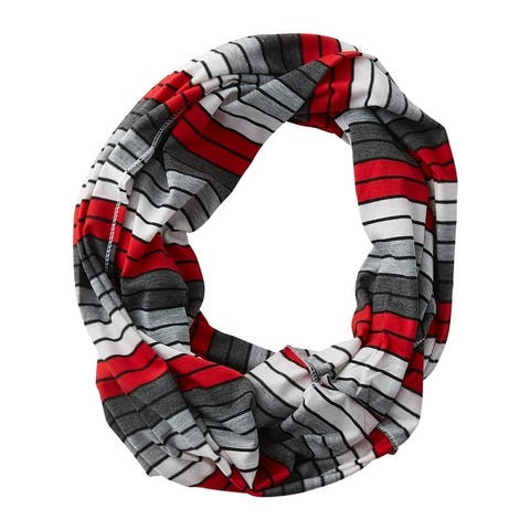 Tickled Pink Gray Striped Infinity Scarf