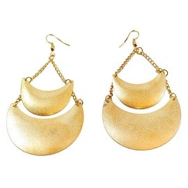 Matt Shimmer Dust Double Disk Tear Dangle Drop Fashion Earrings, Gold