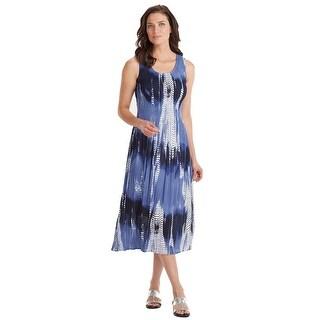 """Tie-Dye Indigo Long Sundress - Sleeveless Crinkle Crepe Smocked Bodice - 48"""" Midi Length"""