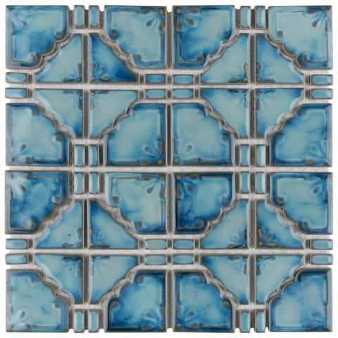 SomerTile 11.75x11.75-inch Luna Diva Blue Porcelain Mosaic Floor and Wall Tile