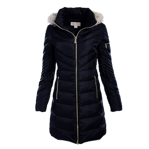 Michael Kors Womens Navy Blue Down Chevron Puffer Coat