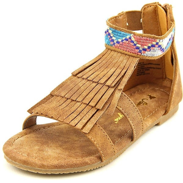Sarah Jayne Naviee Youth Open Toe Synthetic Tan Gladiator Sandal