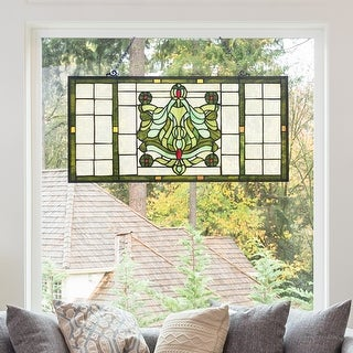 """Link to River of Goods 26""""W Vintage Victorian Stained Glass Window Panel - 26"""" x 0.5"""" x 13.75"""" Similar Items in Optics"""