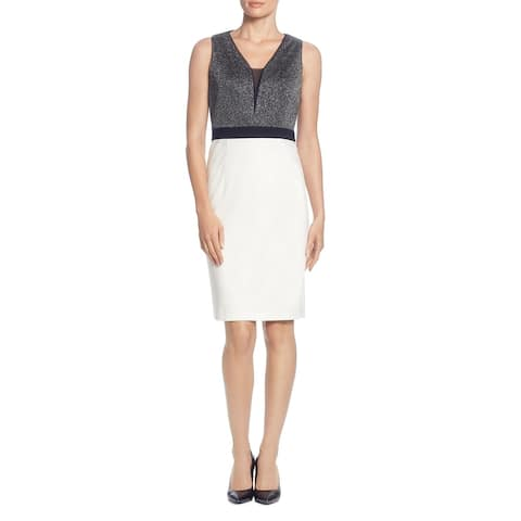 T Tahari Women's Metallic Colorblock Sleeveless Mesh Inset Sheath Dress - Silver Metallic/Black/Winter White