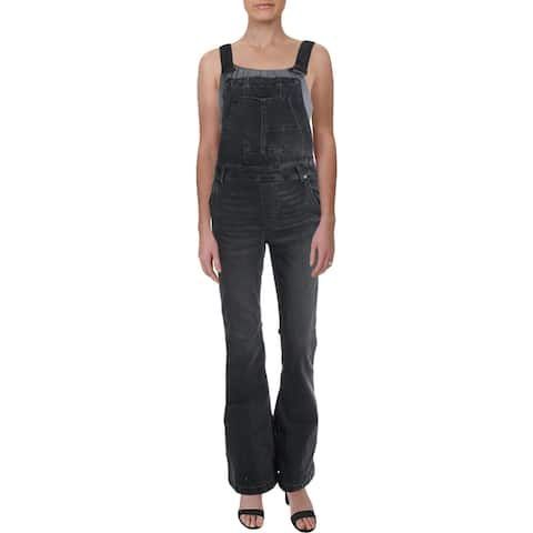 Free People Womens Carly Overall Jeans Denim Flare Leg - Greyed Out