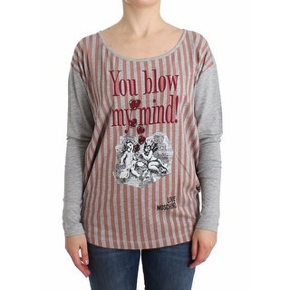 Moschino Moschino Gray striped longsleeved cotton top