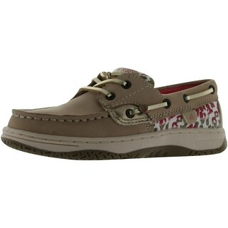 Sperry Top-Sider Bluefish Boat Shoe - silver cloud/leopard print - 5.5 m us big kid