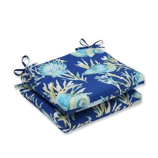 "18.5"" Blue and Green Tropical Island Outdoor Patio Squared Seat Cushion"
