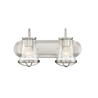 """Designers Fountain 87002 Darby 2 Light 18"""" Wide Bathroom Vanity Light with Seedy Glass Shade"""