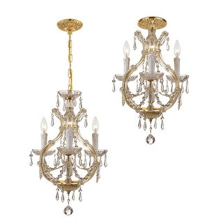 Link to Maria Theresa 4 Light Italian Crystal Gold Mini Chandelier - 12'' W x 21'' H Similar Items in Pendant Lights