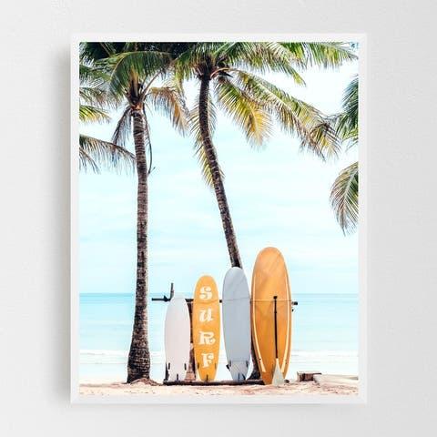 Beach Coastal Nature Ocean Palm Tree Framed Wall Art Print