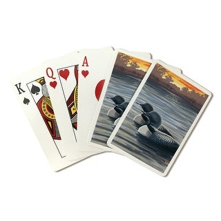 Loons at Sunset - Lantern Press Artwork (Playing Card Deck - 52 Card Poker Size with Jokers)