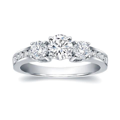 Auriya 14k Gold 1 1/3ctw Round 3-Stone Diamond Engagement Ring Certified